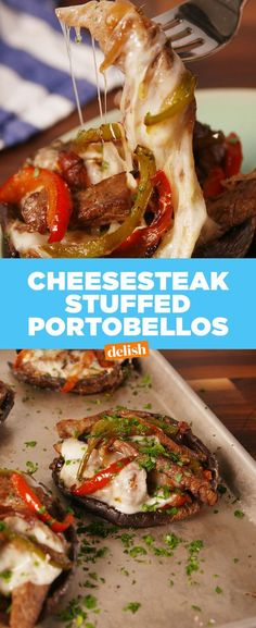 Philly Cheesesteak Stuffed PortobellosDelish Cheesesteak, Paleo Diet, Paleo Food