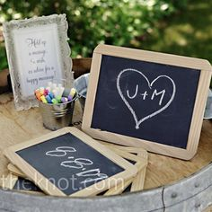 little chalkboards for a photo booth