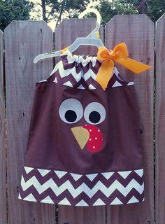 Turkey Pillowcase Dress Thanksgiving Gobble by RufflesandMudPies, $14.00