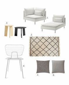 How to get the look for a light, calm living room: a white IKEA sofa, a soft Beni Ourain moroccan rug, MENU's string chair, lots of linen cushions and HAY's elephant coffee tables....