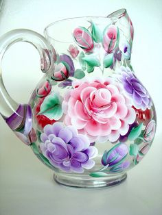 Hand Painted Roses Glass Pitcher