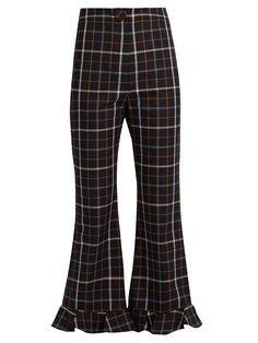 Jellycheck flared cropped trousers | A.W.A.K.E. | MATCHESFASHION.COM AU