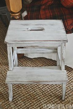 Turn an Ikea step stool into a beautiful shabby chic functional piece for your home!