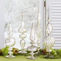 Silvery Glass Finials perfect for a mantel or christmas tablesetting  #holidayentertaining