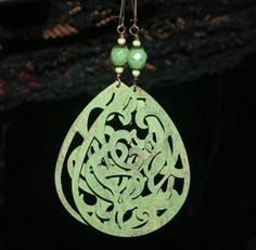 Large Filigree Earrings in Green by groovychickjewelry, $13.50