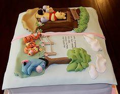 Winnie the Pooh storybook cake Fancy Cakes, Cute Cakes, Beautiful Cakes, Amazing Cakes, Winnie The Pooh Cake, Fondant Cake Toppers, Fondant Cakes, Book Cakes, Kid Cakes
