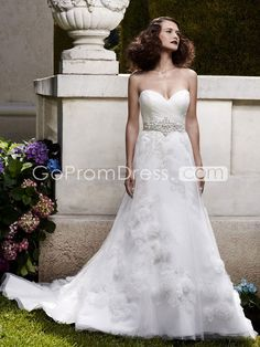 A-line Satin Sweetheart embroidery Court Train Wedding Dress - gopromdres.com
