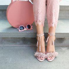 pink lace ups & lace pants