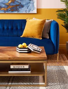 Brown Coffee Table With Wooden Top Living Room Tv Unit, New Living Room, Living Room Sofa, Living Room Decor, Yellow Cushions, Cushions On Sofa, Living Room Color Schemes, Living Room Designs, Mustard Living Rooms