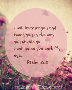 (Psalm 32:8)  I will instruct you and teach you in the way you should go; I will counsel you with my loving eye on you.