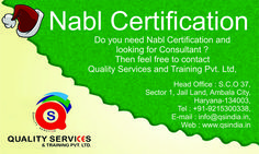 Do you need Nabl Certification for your company and looking for consultants? Then contact to Quality Services & Training Pvt. Ltd. For more information, contact us on below address; Phone Number: 91-92169-29001 Email Id: info@qsindia.in  Website: http://www.qsindia.in/nabl-certificationindia  S.C.O. 37, Sector-1, Jail Land, Ambala City – 134 003 Haryana  https://twitter.com/Qualityservic11  https://www.facebook.com/isocompanyindia?ref=hl
