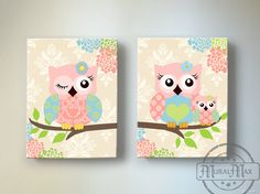 Kids Wall Art Owl Nursery Baby Girl Owl Decor Owl by MuralMAX, $102.00