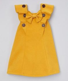 Sweet Charlotte Yellow Ruffle Top - Toddler & Girls by Sweet CharlotteDarling Details ❤~ buttons, bow and ruffles. something special every dayButton-adorned ruffles and a bow accent lend carefree flair to this breezy top crafted from breathable fab Toddler Girl Style, Toddler Dress, Toddler Outfits, Kids Outfits, Toddler Girls, African Dresses For Kids, Little Girl Dresses, Little Girl Fashion, Kids Fashion