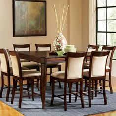 Marseille Counter Height Dining Set with Square Top Table and Upholstered Side Chairs by Steve Silver - Hudson's Furniture - Pub Table and Stool Set Tampa, St Petersburg, Orlando, Ormond Beach Hudson Furniture, Dining Room Furniture Sets, Dining Room Sets, Home Furniture, Dining Chairs, Furniture Showroom, Kitchen Furniture, Side Chairs, Dining Area