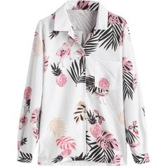 Leaf Pineapple Print Pocket Shirt White (72 BRL) ❤ liked on Polyvore featuring tops, zaful, pocket shirts, leaf print top, pineapple shirt, pineapple print top and leaf print shirt
