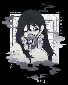 Cyberpunk Kunst, Cyberpunk Anime, Kunst Inspo, Art Inspo, Cartoon Kunst, Cartoon Art, Anime Art Girl, Manga Art, Dark Anime Art
