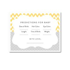 Baby Shower Yellow Gray Chevron Gender Neutral - Activity Predictions for Baby - Instant Download Printable