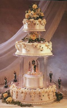 beautiful cake idea- would take off the bridal party figurines