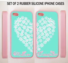 TIFFANY MINT FLORAL HEART MOTHER DAUGHTER BFF BEST CASES For iPhone 4 4S 5 5S 5C