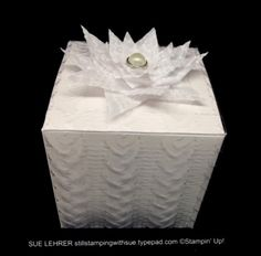 Stampin' Up! White Gift Boxes embossed with Cable Knit Emb. Folder - stillstampingwithsue.typepad.com