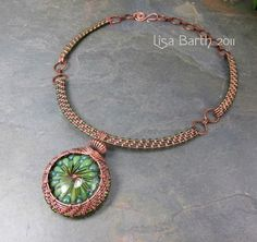 Woven Copper Collar for the Woven Bezel Pendant by Lisa Barth