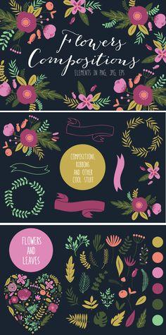 Flowers compositions by lokko studio on Creative Market #illustration #designtools #downloads #flowers