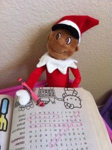 Elf on the shelf coloring with Hello Kitty