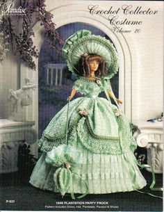 Crochet Costume Pattern Civil War Southern Belle Fits 11 1 2 Fashion Doll Barbie   eBay