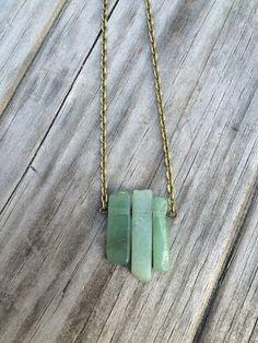 Natural Green Aventurine on a Bronze Necklace 20 by LunaSavita