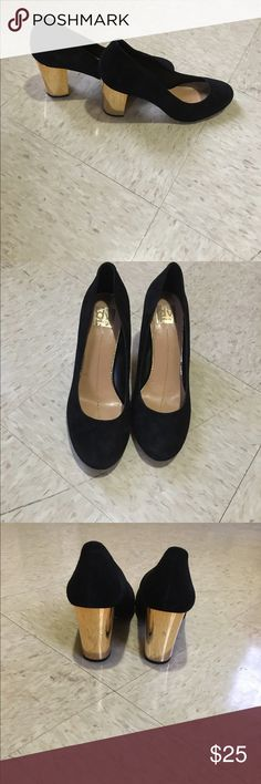 """Dollie shoe with chunky gold plated heels Very comfortable chunky gold plated heel. Heel height is about 3"""". Black faux suede exterior. Round closed toe. DV by Dolce Vita Shoes Heels"""