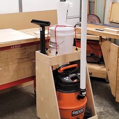 With a shop vac, cyclone and some plywood, learn how to make this awesome dust collection cart! With a shop vac, cyclone and some plywood, learn how to make this awesome dust collection cart! Workshop Storage, Garage Workshop, Workshop Ideas, Workshop Bench, Home Workshop, Woodworking Shop Layout, Woodworking Projects Diy, Small Woodworking Shop Ideas, Woodworking Blueprints