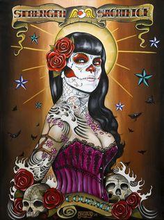 Day of the Dead Pin Up Girl Drawings | pin up,calaveira,caveira,imagens de caveira,desenho,tattoos e caveiras ...