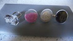 Bague microbille de couleurs sur anneau argenté : Bague par marakamax