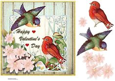 Two Little Birds Just For You on Craftsuprint - View Now! Little Birds, Love Birds, Square Card, Printable Crafts, Hobbies And Crafts, Vintage Cards, Happy Valentines Day, Blue Bird, Pet Birds