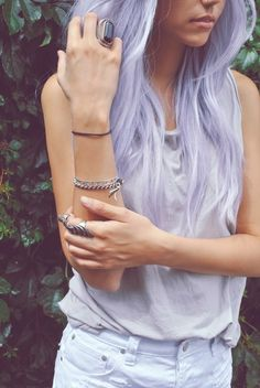 Lavender hair, if I could ever pull off colors like that I would pic this color!!!