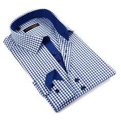 Shepherd's Check Button-Down Shirt // Blue (S)