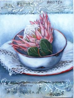 Protea Art Protea Art, Protea Flower, Stella Art, Fabric Painting, Painting & Drawing, Vintage Flowers, Art Tutorials, Flower Art, Watercolor Paintings