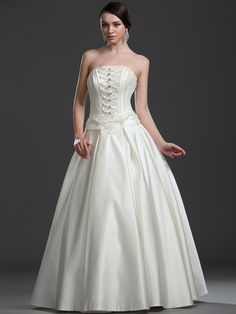 Strapless Full Satin Ball Gown with Lace Up Front and Floral Back
