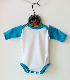 Baby Boy Blue and White Baseball Onesie Bodysuit by mabelretro, $24.00