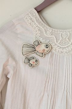 Mama fish with her little one brooch