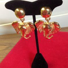 """Elephant Clip on Earrings   gold tone Elephant Clip on Earrings   gold tone   Never Been Worn    Clip ON EarringsApprox  size  1  1/2"""" wide  x   2 """" tall Jewelry Earrings"""