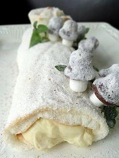 Egg Nog Custard cake log-