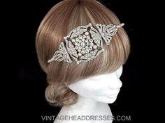 Art Deco Headpiece - Vintage 1920s Headpiece - Gatsby Headband - Wedding Headband - Art Deco Bridal Headband - Juliet Cap - Flapper Headband by VintageHeaddresses on Etsy
