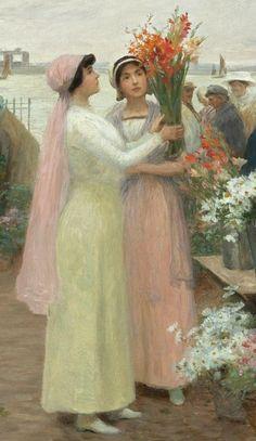 Victor-Gabriel Gilbert, Élégantes au marché des fleur