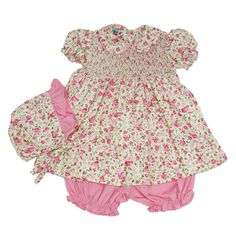 Marie Floral - Hand-smocked top with hand embroidery (soft cotton lining to inside of smocking), Button fastening at back Smocking, 6 Months, Hand Embroidery, Rompers, Summer Dresses, Button, Boys, Floral, Clothes