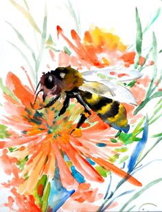 Bee Original watercolor painting 8 X 10 in honey by ORIGINALONLY. #insect #art