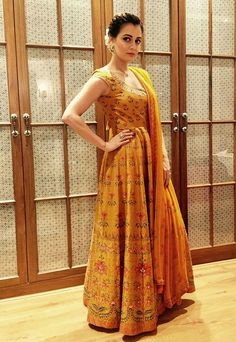 Dia Mirza in Anita Dongre anarkali suit Indian Dresses, Indian Outfits, Western Outfits, Indian Attire, Indian Wear, Ethnic Fashion, Indian Fashion, Beautiful Dresses, Nice Dresses