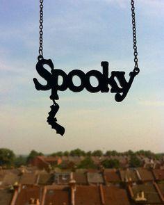 Spooky laser cut necklace by SkullyBunting on Etsy Halloween Fashion, Halloween Jewelry, Goth Jewelry, Jewlery, Cute Bat, Kawaii Goth, Laser Cut Jewelry, Impression 3d, Laser Cut Acrylic