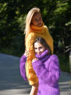 Beautiful fetish oversized turtleneck sweaters amethyst and goldenrod . Red T, Angora, Thick Sweaters, Knitwear, Fur Coat, Turtle Neck, Wool, Knitting, Womens Fashion