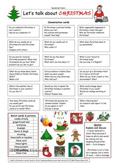 about Christmas- Conversation cards - Learn and improve your English language with our FREE Classes. Call Karen Luceti or email kluceti@ to register for classes. Eastern Shore of Maryland. English Vocabulary, English Grammar, Teaching English, English Language, Japanese Language, Teaching Spanish, English Resources, English Activities, English Lessons